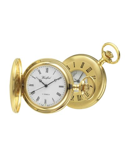 Mechanical Gold Plated Patterned Half Hunter Pocket Watch With Chain